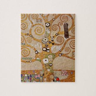 Tree of Life by Klimt, Stylized Art Nouveau Symbol Jigsaw Puzzle
