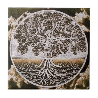 Tree of Life Circle of Life in Brown Tile