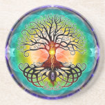 """Tree Of Life Coaster<br><div class=""""desc"""">Tree of life,  not as much as the abstract,  geometric version,  but more in a traditional sense. Symmetry,  depth and vibrant colors are the main focus of this artwork.</div>"""