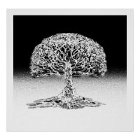 Tree of Life Coral Reef Black and White Poster