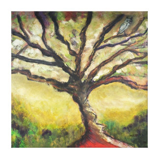 Tree of Life Countryside Landscape Owl Bird Art Canvas Print