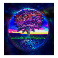 Tree of Life Dark Blue Poster