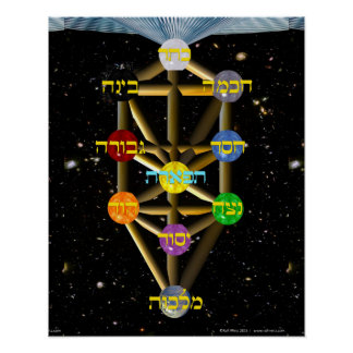 Tree of Life Diagram with Hebrew labels Poster