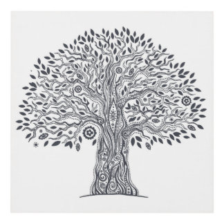 Tree Of Life Doodle 3 Panel Wall Art