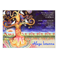 TREE OF LIFE Doves Bar Bat Mitzvah Invitation