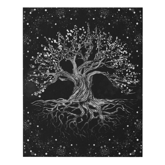 Tree Of Life Drawing Black And White Faux Canvas Print Zazzle Com