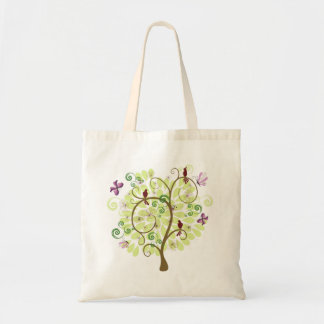 Tree of Life floral stylized green tree birds Budget Tote Bag