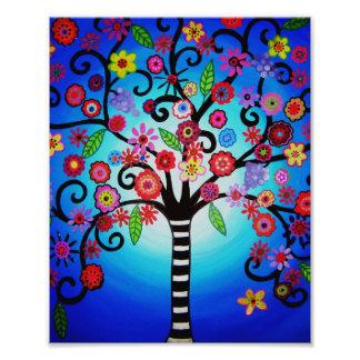 Tree of Life Flowers Painting Photo Print
