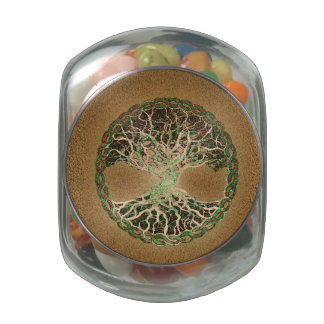 Tree of Life Glass Candy Jars