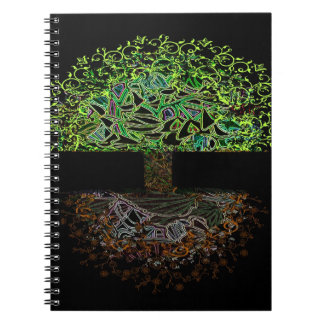 Tree of Life Glow Spiral Notebook