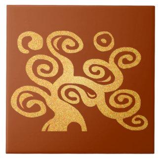 Tree of life gold version ceramic tile