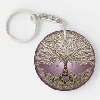 Tree of Life Golden Heart Double-Sided Round Acrylic Keychain