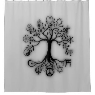 Tree Of Life Harmony Religion On Grey Shower Curtain