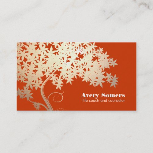 Tree of Life Health and Wellness Orange Nature Business Card