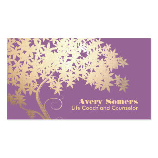 Tree of Life Health and Wellness Purple Double-Sided Standard Business Cards (Pack Of 100)