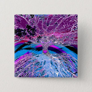 Tree of Life Hear in Purple and Blue w/ Rainbow Button