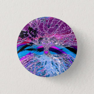 Tree of Life Hear in Purple and Blue w/ Rainbow Pinback Button