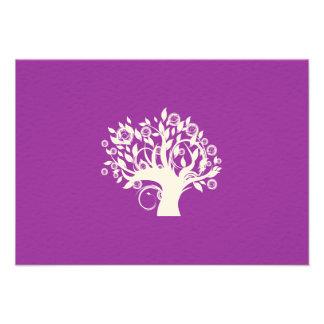 Tree of Life Hebrew Jewish Wedding RSVP Purple Personalized Invites