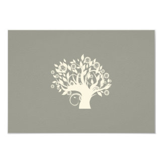 Tree of Life Hebrew Jewish Wedding RSVP Silver Card