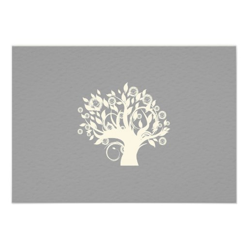 Tree of Life Hebrew Jewish Wedding RSVP Silver Personalized Invites