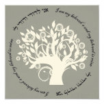Tree of Life Hebrew Jewish Wedding Silver Card