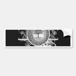 Tree of Life in Black and White with Flowers Bumper Sticker