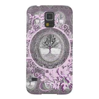Tree of Life in Black and White with Flowers Galaxy S5 Case