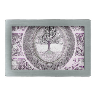 Tree of Life in Black and White with Flowers Rectangular Belt Buckle