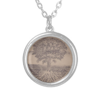 Tree of Life in Brown Round Pendant Necklace
