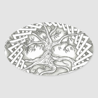 Tree of Life in Celtic Design Oval Sticker