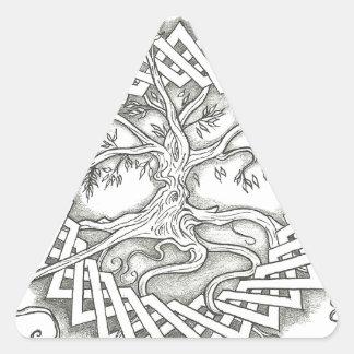 Tree of Life in Celtic Design Triangle Sticker