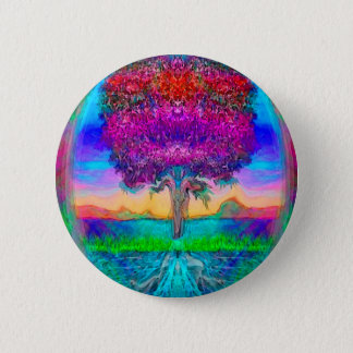 Tree of Life in Rainbow Colors Button