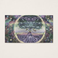 Tree of Life in Rainbow Metal Colors Business Card