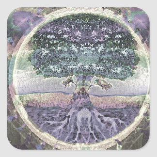 Tree of Life in Rainbow Metal Colors Square Sticker