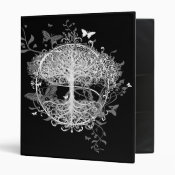 Tree of Life in White with Butterflies 3 Ring Binder (<em>$22.00</em>)