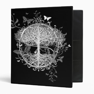 Tree of Life in White with Butterflies 3 Ring Binder