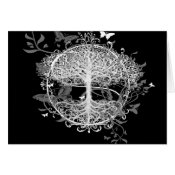 Tree of Life in White with Butterflies Card (<em>$3.15</em>)
