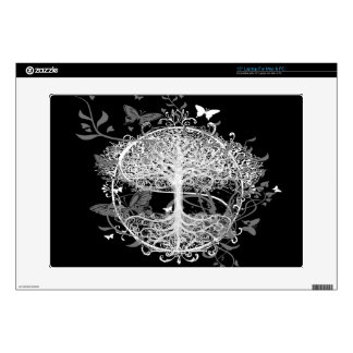 Tree of Life in White with Butterflies Decal For Laptop