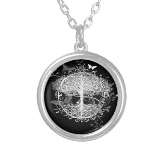 Tree of Life in White with Butterflies Pendant