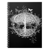 Tree of Life in White with Butterflies Spiral Notebook (<em>$13.70</em>)