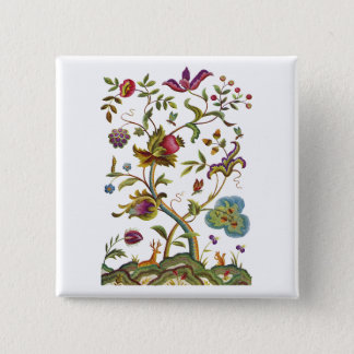 Tree of Life Jacobean Embroidery Pinback Button