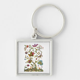 Tree of Life Jacobean Embroidery Silver-Colored Square Keychain