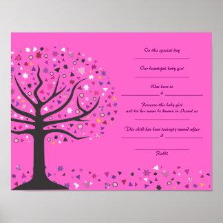 Tree of Life Jewish Baby Naming Birth Certificate Poster