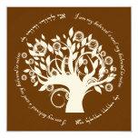 Tree of Life Jewish Hebrew Wedding Blrown 5.25x5.25 Square Paper Invitation Card