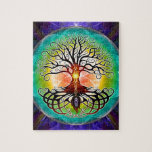 "Tree Of Life Jigsaw Puzzle<br><div class=""desc"">Tree of life,  not as much as the abstract,  geometric version,  but more in a traditional sense. Symmetry,  depth and vibrant colors are the main focus of this artwork.</div>"