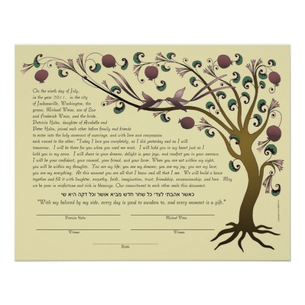 Tree Of Life Ketubah W/ Hebrew Quote (rose/ Straw) Poster | Zazzle.com