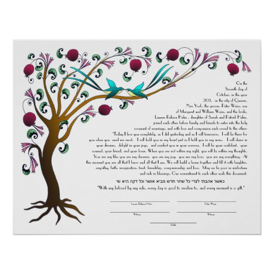 Tree Of Life Ketubah With A Hebrew Quote Poster Zazzle Interesting Tree Of Life Quote