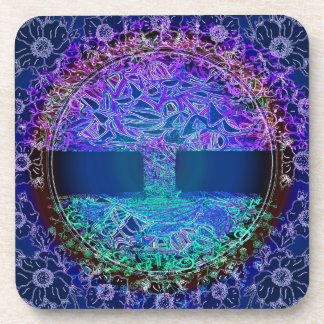 Tree of Life Knowingness is a electric  blue Beverage Coaster