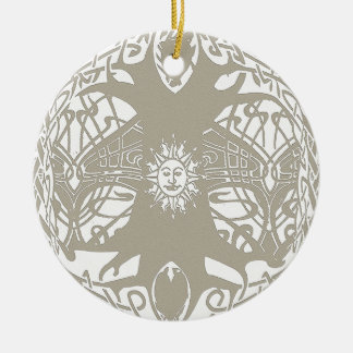 Tree of Life Light Tan Background Ceramic Ornament