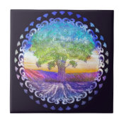 Tree of Life Love, Peace, Balance Ceramic Tile (<em>$13.70</em>)